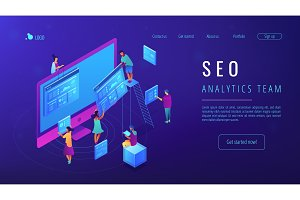 Isometric SEO analytics team landing