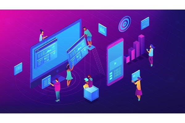 Isometric content marketing team