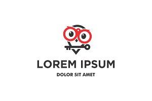 Cute Owl Hold Key Logo Icon Vector