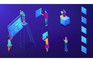 Isometric SEO services illustration.