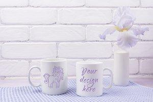 Two coffee mug mockup with iris