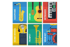 Six flat banners musical instruments