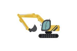 Crawler Excavator Flat Icon