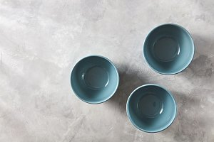 Three blue hand crafted chinese