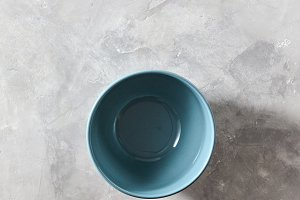 Blue porcelain bowl isolated on