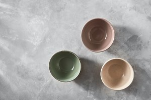 Three colorful porcelain bowls