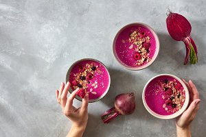 Fresh vegetable smoothies from beets