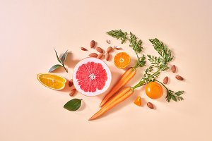 Carrot, slices of orange and