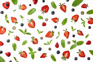 Pattern of Blueberries, strawberries