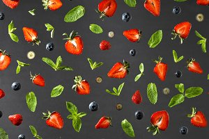 Flat lay view on fruit pattern with