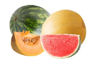 Melon and watermelon isolated on