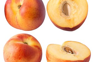 Collection of peach fruits isolated
