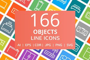 166 Objects Line Icons