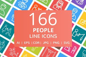 166 People Line Multicolor B/G Icons