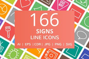 166 Sign Line Multicolor B/G Icons
