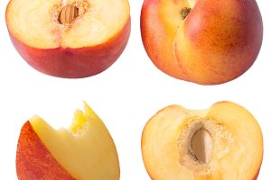 Collection of peaches isolated on