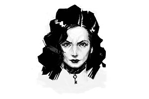 Illustration of a girl in style noir