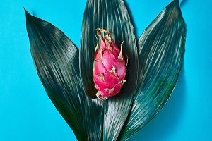 Pink dragon fruit on green leaves on