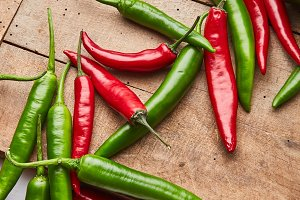 Chili colored peppers for cooking