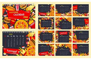 Fast food calendar, snack and drink