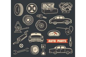Auto parts, details and retro cars