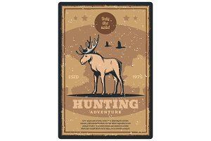 Hunting retro poster