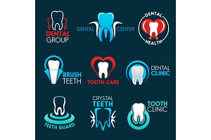 Dental clinic, dentist office icons