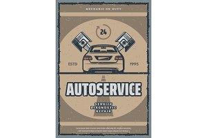 Auto repair service retro poster