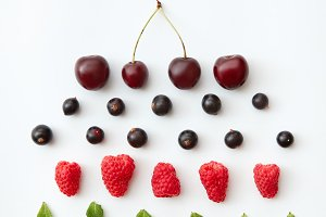 Pattern of fresh berries isolated on