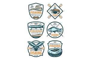 Fishing club and shop retro badges