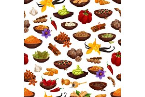 Spice and seasoning seamless pattern