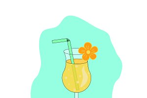 Yellow summer tropical cocktail