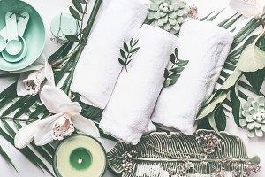 Green spa treatment setting