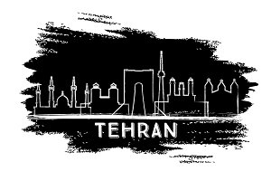 Tehran Iran City Skyline Silhouette.