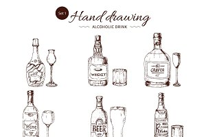 Alcoholic Drinks Hand Drawn Set