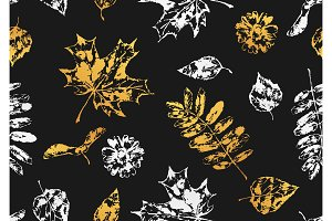 Seamless pattern with printed leaves