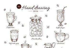 Coffee Hand Drawn Monochrome Set