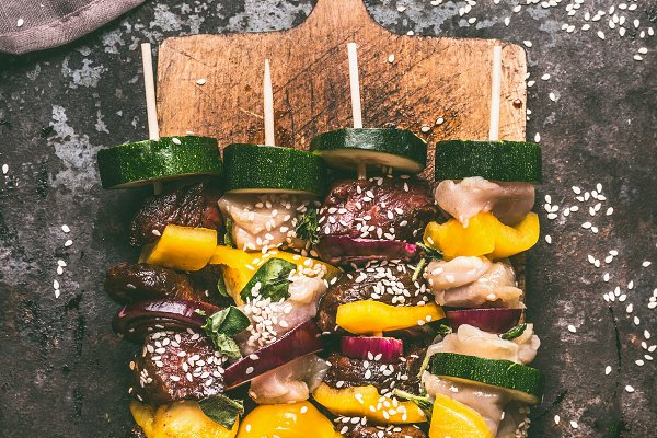 Food Stock Photos: VICUSCHKA - Skewers of chicken and beef meat