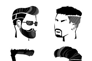 Sketch Male Hipster Faces Set