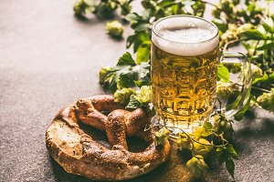 Beer and pretzel for Oktoberfest