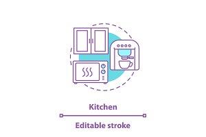 Kitchen interior concept icon