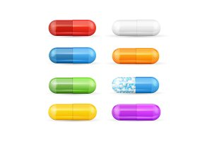 3d Color Pills and Vitamins Set