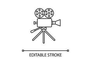 Movie camera linear icon