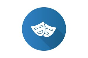 Comedy and tragedy masks icon