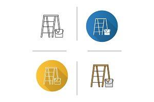 Scaffolding ladder with paint icon