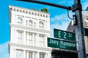 Joey Ramone Place road sign in East