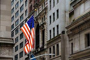 American flag waving against