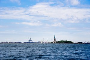 Scenic view of Statue of Liberty and
