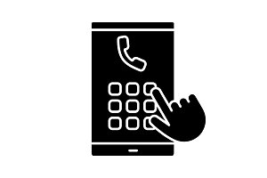 Hand dialing phone number glyph icon