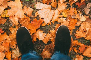 feet of autumn leaves